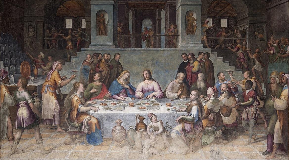 """Le """"Nozze di Cana"""" di Luca Longhi (1580), dipinto presso il refettorio dell'abbazia di Classe dentro - attualmente Biblioteca Classense - dopo il restauro del 2017 - file licenziato in base ai termini della licenza Creative Commons"""