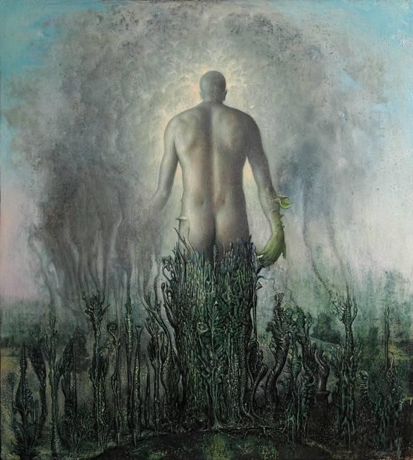 """Agostino Arrivabene, """"Zeus sorgivo splendente di radianza"""", olio su legno, cm 43x38, 2017"""