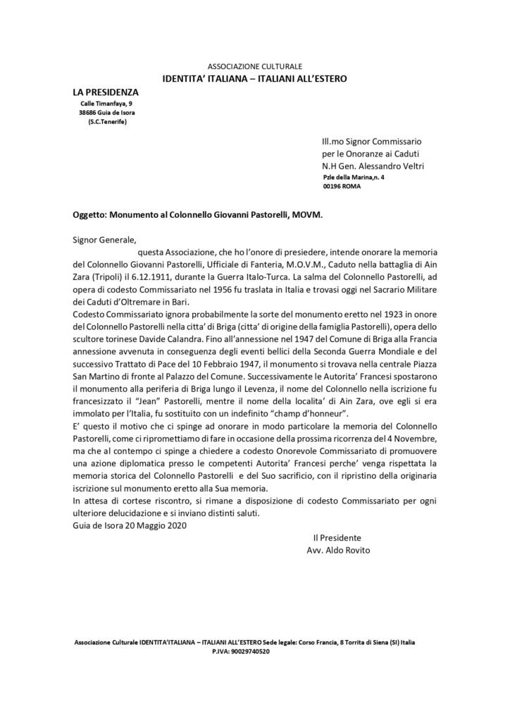 Si preservi la memoria storica del Colonnello Giovanni Pastorelli e del suo sacrificio
