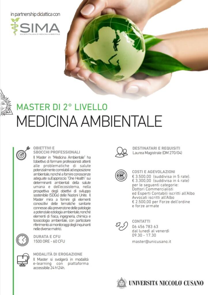 Al via dal 1 agosto 2020 il primo master italiano in Medicina Ambientale, nato dalla collaborazione tra ùUnicusano e SIMA