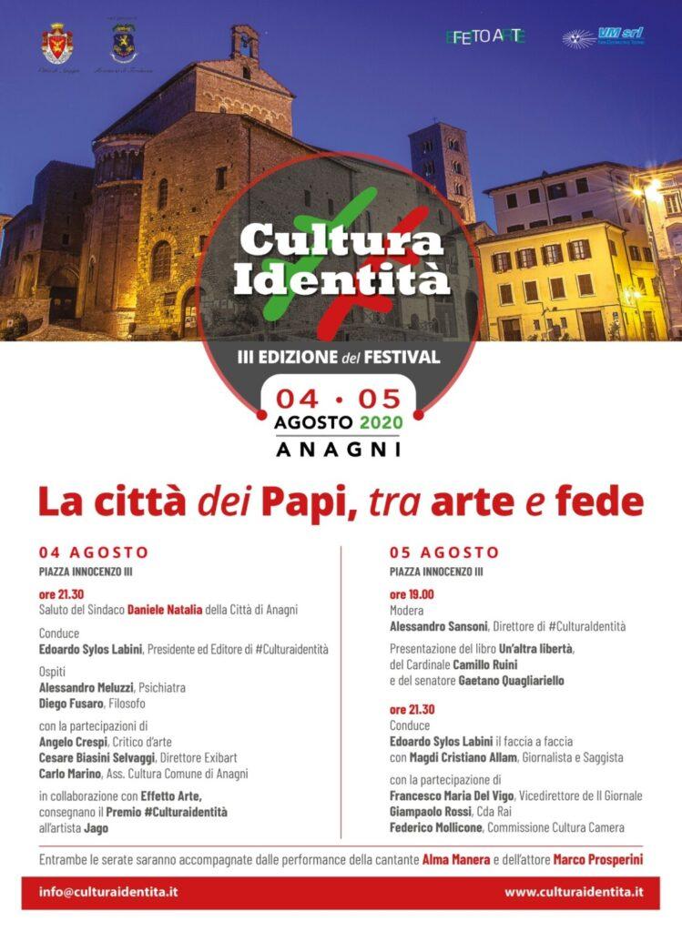 Il 4 e 5 agosto ad Anagni la terza edizione del Festival di CulturaIdentità